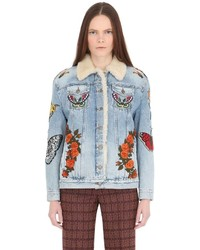 Gucci Embroidered Denim Shearling Jacket
