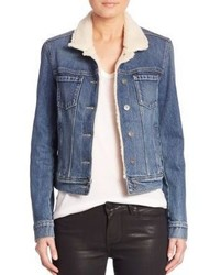 Paige Leo Faux Shearling Collar Denim Jacket
