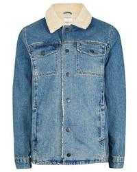 Topman Blue Faux Shearling Collar Denim Jacket