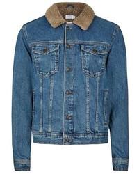 Topman mid wash blue faux shearling collar denim jacket medium 1148492