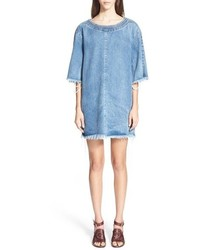Chloe raw edge boatneck denim shift dress medium 534393