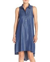 Denim chambray a line highlow shift dress medium 517681