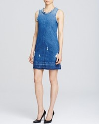 J Brand Reeve Denim Destructed Short Dress In Hollow