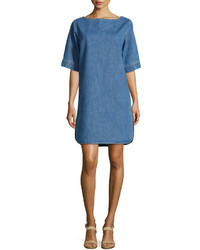 Stella McCartney Short Sleeve Denim Shift Dress Blue