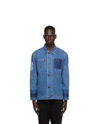 McQ Blue Denim Unfolded Shirt Jacket