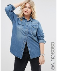 Asos Curve Curve Denim Boyfriend Shirt In Mid Blue Wash