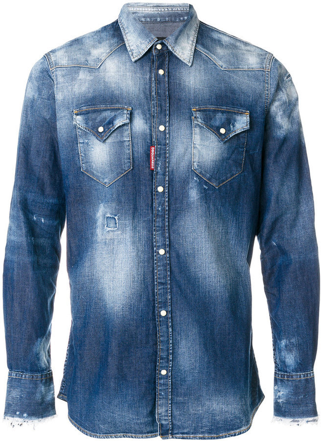acc0c61dbb ... Blue Denim Shirts DSQUARED2 Bleached Denim Shirt ...