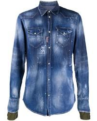DSQUARED2 Bleached Effect Buttoned Denim Shirt