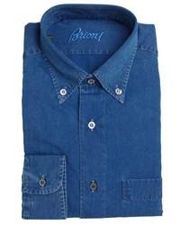 Brioni Blue Denim Button Down Collar Dress Shirt