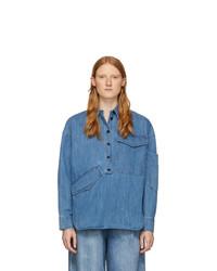 Tibi Blue Denim Oversized Cocoon Shirt