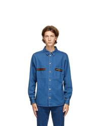 Gucci Blue Denim Stone Wash Web Shirt