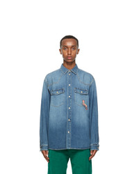 Gucci Blue Eco Washed Denim Cat Shirt
