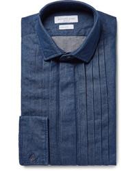 Richard James Blue Pintucked Washed Cotton Chambray Shirt