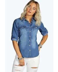 Boohoo Charlotte Crinkle Denim Shirt