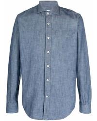 Eleventy Buttoned Up Cotton Denim Shirt