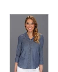 Calvin Klein Jeans Petite Fitted Denim Shirt In Indigo Dot Long Sleeve Button Up