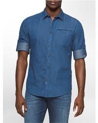 Calvin Klein Mini Geometric Print Denim Shirt