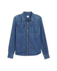 AG Christine Zip Front Denim Shirt