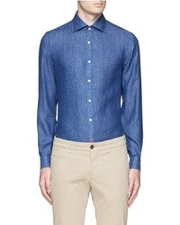 Isaia Como Dot Print Denim Shirt