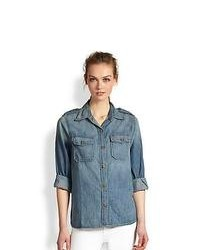 Current/Elliott The Perfect Studded Collar Denim Shirt Denim Blue