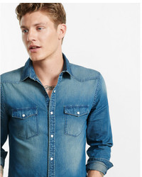 Express Dark Blue Western Denim Shirt