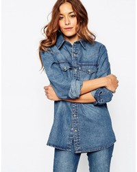 Asos Denim Boyfriend Shirt In Mid Wash Blue