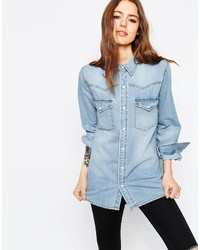 Asos Denim Boyfriend Shirt In Myrtle Light Wash