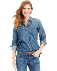 Vince Camuto Denim Button Down Utility Shirt