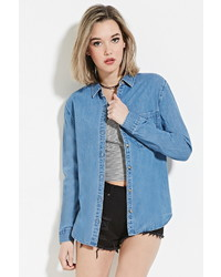 Forever 21 Denim Buttoned Shirt