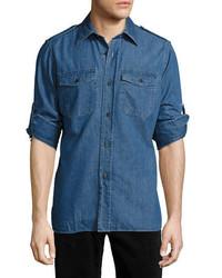 Tom Ford Denim Military Shirt Medium Blue