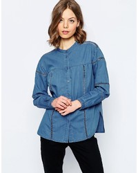 Asos Denim Shirt With Ladder Insert Detail In Mid Wash Blue