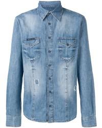 Philipp Plein Distressed Denim Shirt