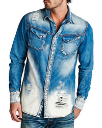 Cult of Individuality Distressed Denim Sportshirt