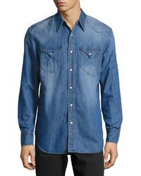 One Teaspoon Django Western Denim Shirt Cali Blue