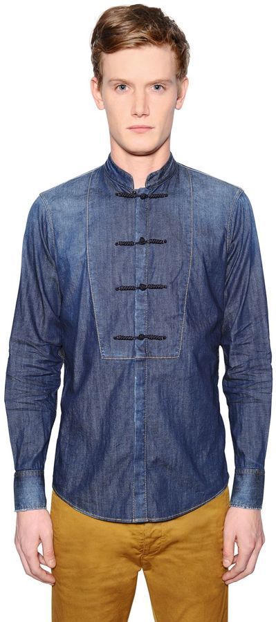 nice cheap customers first official images Stretch Denim Tuxedo Shirt