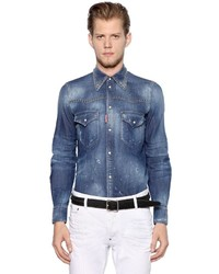 DSQUARED2 Studded Cotton Denim Western Shirt