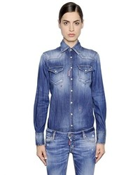 Dsquared2 Washed Cotton Denim Western Shirt