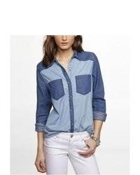 Express Color Block Denim Western Shirt