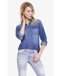 Express Medium Wash Fitted Denim Shirt