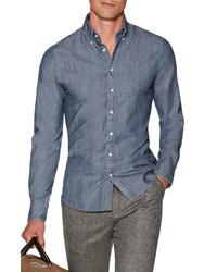 Suitsupply Extra Slim Fit Denim Sport Shirt