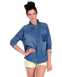 Romeo & Juliet Couture Fade Pocket Denim Shirt