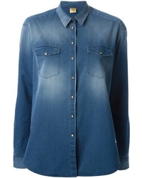 Fay Stone Washed Denim Shirt