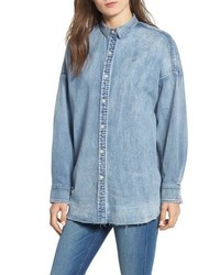 Hudson Jeans Frayed Hem Denim Shirt