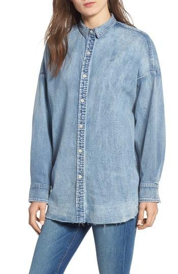 Hudson Jeans Frayed Hem Denim Shirt
