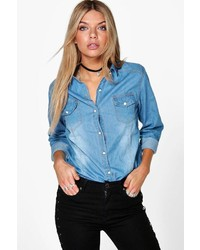 Boohoo Hailey Light Wash Button Front Denim Shirt