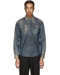 10202d9cb22 ... Maison Margiela Indigo Faded Denim Shirt