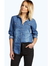 Boohoo Isabelle Dark Wash Denim Shirt
