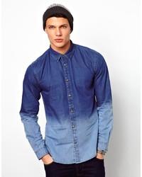 Jack & Jones Denim Shirt With Dip Dye