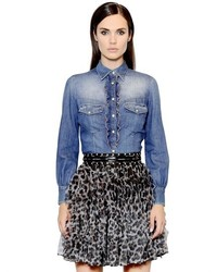 Just Cavalli Ruffled Cotton Denim Shirt