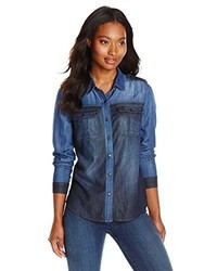 Kensie jeans utility colorblocked denim shirt medium 385025